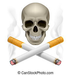 Skull with burning crossed cigarettes as symbol of smoking danger.