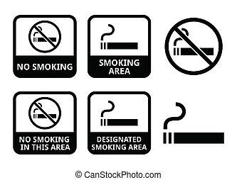 No smoking, smoking area icons - Vector icons set -...