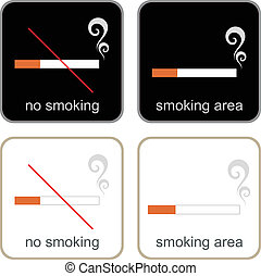 No Smoking & Smoking Area - signs - Smoking Area and No ...