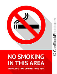 No smoking sticker, flat design