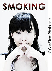 No Smoking Hand Sign by Asian Teenager