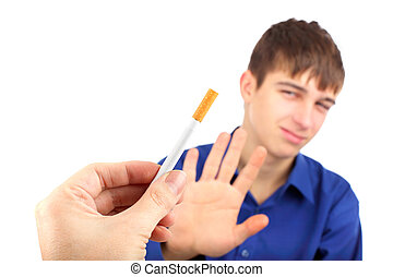 no smoking - The teenager refuses a cigarette