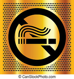No smoking symbol on a gold background