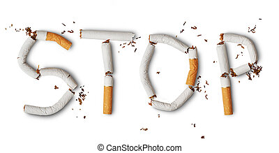 No smoking - Text stop made from broken cigarettes