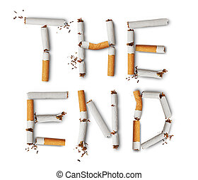 no smoking - Text the end made from broken cigarettes