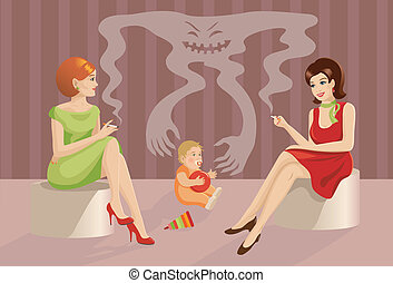 The concept: smoking harms to associates. Little child and smoking women. EPS 8