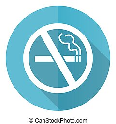 No smoking vector icon, flat design blue round web button isolated on white background