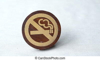 No Smoking wooden sign copy space - No Smoking Symbol paint...
