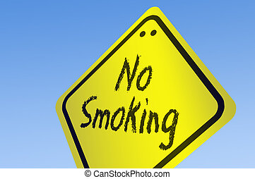 No Smoking word on road sign