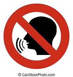 no, sonido, cabeza, hablar., señal, parada, forbidden., diseminación, censorship., gossip., waves., prohibición, silueta, información