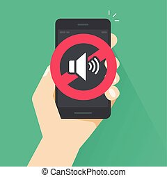 No sound sign for mobile phone vector illustration, flat cartoon style volume off or mute mode sign for smartphone, cellphone silence zone