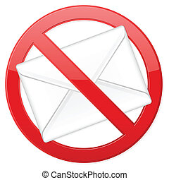 no spam - Prohibition spam sign on white background. Vector...