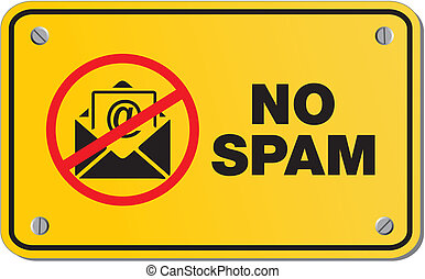 no spam yellow sign- rectangle sign