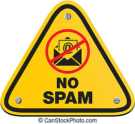 no spam yellow sign