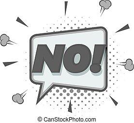 No, speech bubble icon monochrome