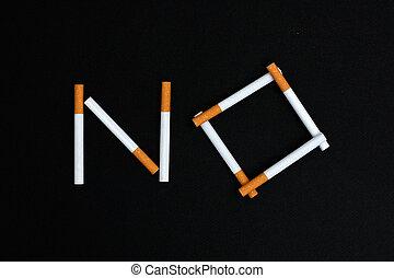 No - cigarettes spelling No
