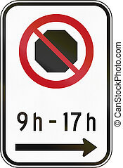 No Stopping In Specified Times Sign in Canada