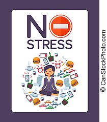 No stress typographic poster for office vector illustration...