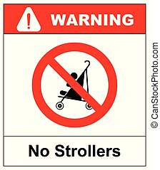 No strollers or pushchair, vector illustration
