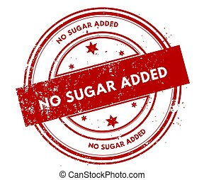 NO SUGAR ADDED distressed red stamp.