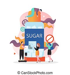 No sugar diet vector concept for web banner, website page - ...