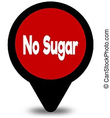 NO SUGAR on red location pointer illustration