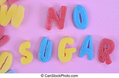 No Sugar words on pink table