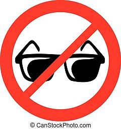 no sunglasses sign (prohibition icon, not allowed symbol)