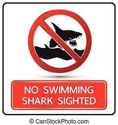 no swimming shark sighted sign and symbol vector