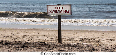 No Swimming sign posted on the beach in font of the ocean