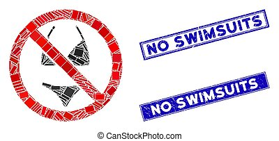 No Swimsuit Mosaic and Grunge Rectangle No Swimsuits Seals