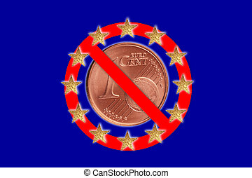 no symbol - A no symbol with a European flag and a Euro coin