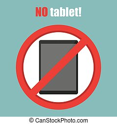 No tablet sign in a flat design. Vector illustration