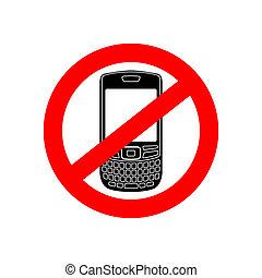 no, telefono, vettore, segno
