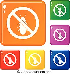 No termite sign icons set vector color
