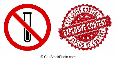 No Testtube Icon with Scratched Explosive Content Stamp - ...