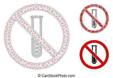 No Testtube Vector Mesh 2D Model and Triangle Mosaic Icon - ...