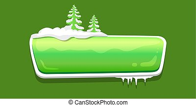No Text Glossy Web Push Button Covered Snow Vector