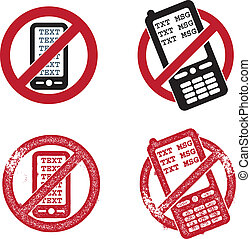 No Texting Vector Graphics - Four variations of no texting...