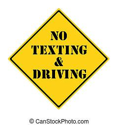 no, texting, y, conducción, señal