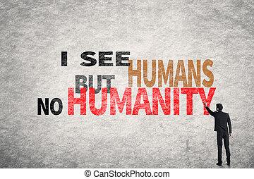 no, texto, seres humanos, pared, pero, ver, humanidad