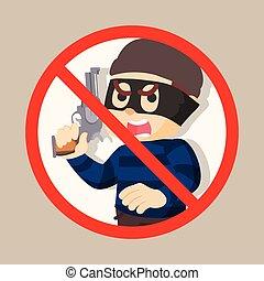 no thief holding gun illustration