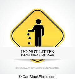 no, tirar basura, señal