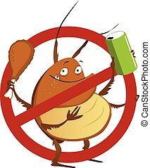 No to pest infestation - Funny cartoon cockroach with a soda...