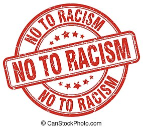 no to racism red grunge round vintage rubber stamp