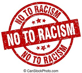 no to racism round red grunge stamp