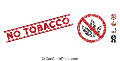No Tobacco Mosaic and Scratched No Tobacco Seal with Lines