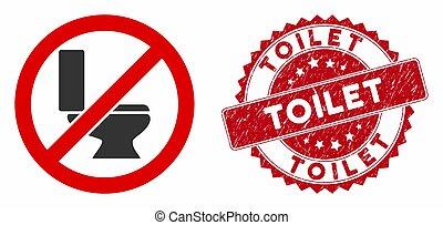 No Toilet Bowl Icon with Textured Toilet Stamp