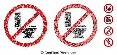 No toilet bowl Mosaic Icon of Rugged Pieces