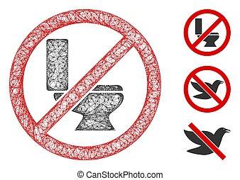 No Toilet Bowl Polygonal Web Vector Mesh Illustration